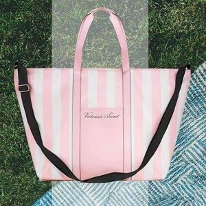 Victoria Secret Pink & White Striped Tote